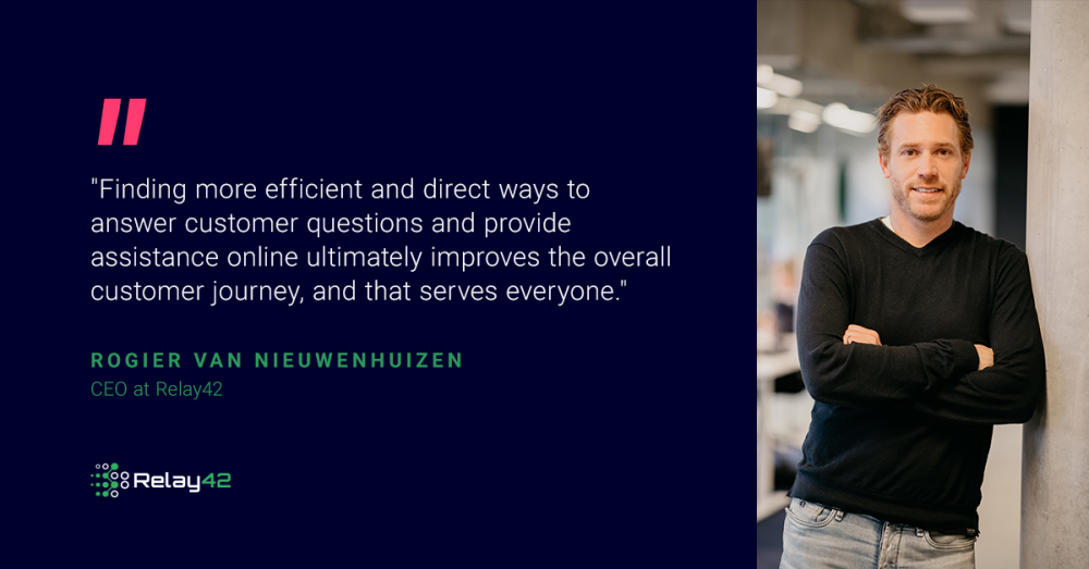 "blue banner with quote from Rogier: ""Finding more efficient and direct ways to answer customer questions and provide assistance online ultimately improves the overall customer journey, and that serves everyone."""